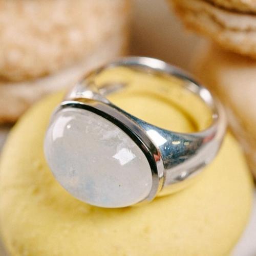Ring in 925/- Silber mit einem Aquamarin Cabochon